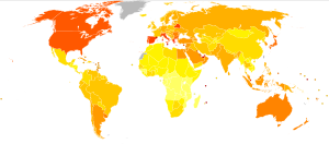 English: Prevalence of diabetes worldwide in 2...